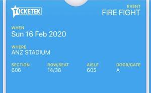 Fire fight Australia tickets