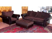 Sofa Suite Settee 2/3 seater pouffe arm chair