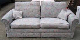 Sofa / Settee - 2 / 3 Seater - Floral Fabric - Pink / Blue - Modern - 205cm Wide