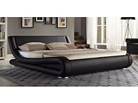 Striking 5ft king size black faux leather bed frame, with quality gold ortho mattress, Free delivery