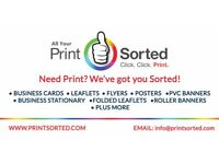 LEAFLETS FLYERS POSTERS BUSINESS CARDS ROLLER BANNERS + MORE **FREE DELIVERY** @ PRINTSORTED