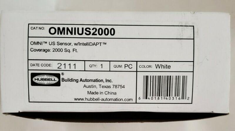 (2)Hubbell OMNIUS2000 OMNI US Motion Sensor w/IntelliDAPT-2,000 Sq Ft Cover. New