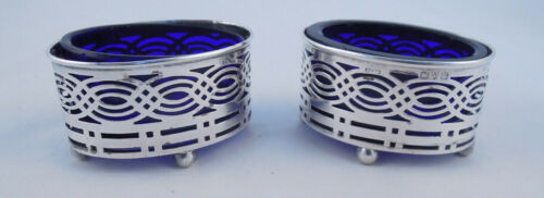 PAIR OF STERLING SILVER SALTS WITH COBALT LINERS CHESTER ENGLISH UNKNOWN MAKER
