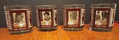 4 Hollywood Movie Stars Roaring Twenties Gold Trim Old Fashion Bar Glasses