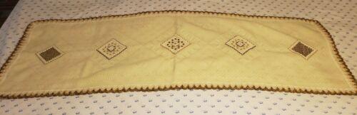 Vintage Hand Made Crochet Geometric Pattern Table Runner