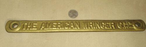Antique The American Wringer New York Clothing Washing Metal Plate Logo