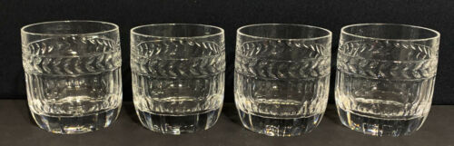 """FOUR Signed VILLEROY & BOCH Crystal DESIREE 3 1/2"""" Double Old Fashioned Tumblers"""