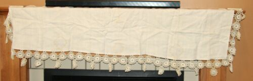 Vintage antique mantle cloth table runner linen with hand tatted lace tatting