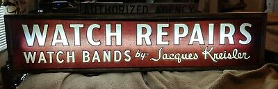Rare REVERSE PAINTED GLASS JACQUES Kreisler AUTHORIZED DEALER  Watch REPAIR SIGN