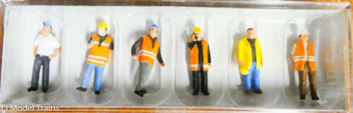 Preiser HO #10420 Modern Workmen -- With Warning Vests (1:87th) Painted