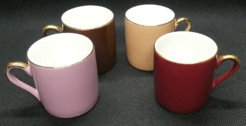 Four Expresso Sized Mugs in Different Colours and Gold Trim