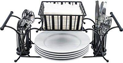 Sorbus Utensil Buffet Caddy Use For Napkin, Cutlery, Plate Holder (Black) ()