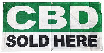 Cbd Sold Here Banner Sign Vinyl Alternative 2x4 Ft Gb - Fabric