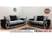 BRAND NEW CHLOE CRUSHED VELVET 3 + 2 SOFA SET - FAST FREE U.K DELIVERY