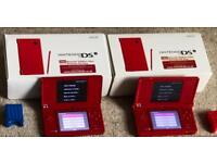 2 Red Nintendo DSi's Boxed Bundle