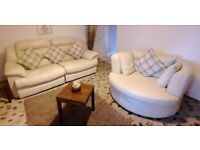 DFS Lovely light cream large leather 2 seater electric reclining sofa matching cuddle swivel chair
