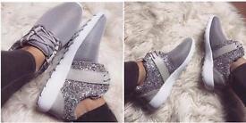 Silver Glitter Trainers