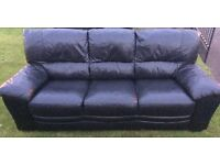 BLACK LEATHER 3 AND 2 SOFAS GOOD CONDITION