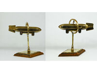 Antique WW1 ZEPPELIN Airship TRENCH ART Brass Plinth Display PAPERWEIGHT