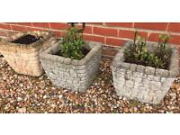 3 Concrete Garden Planters