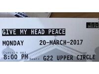 GIVE MY HEAD PEACE TICKETS