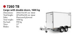 Used Brenderup 7260TB Large Box Trailer with Motor Mover & Alko Stabiliser Hitch