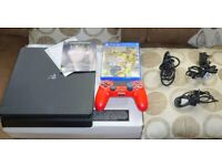 Sony Playstation PS4 SLIM , all leads, box, Controller, Fifa Game Excellent used condition