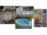 Born Baby Moses Basket + Bouncer + Bath Support