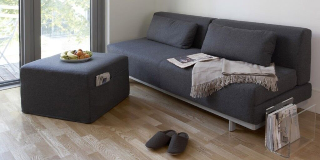 Muji Charcoal Wool Sofa Bed For