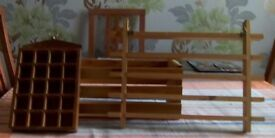 Two thimble racks and a wooden crate without a Base. All made of wood.