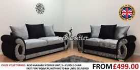 BRAND NEW CHLOE CRUSHED VELVET 3 SEATER SOFA & 2 SEATER CHAIR - FAST FREE U.K DELIVERY
