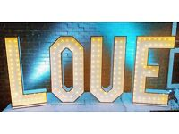 £100 Day Hire - 4ft LED LOVE Letters .... LOVE, AMOUR, AMORE - CHOICE OF LED BACKLIGHTING INCLUDED