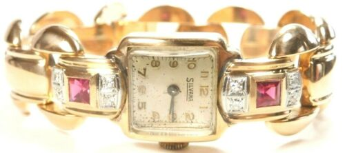 "Retro Silvana Diamond Wristwatch 18K Rose Gold 7"" Length Width .67"" 37.4 Grams"