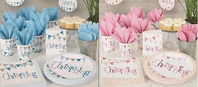 CHRISTENING Paper Party Tableware - Baby Boy or Girl Plates, Cups, Napkins
