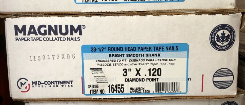 "Magnum Fasteners 16455 3"" x .120 Round Head Bright Smooth Shank Nails (2500)"