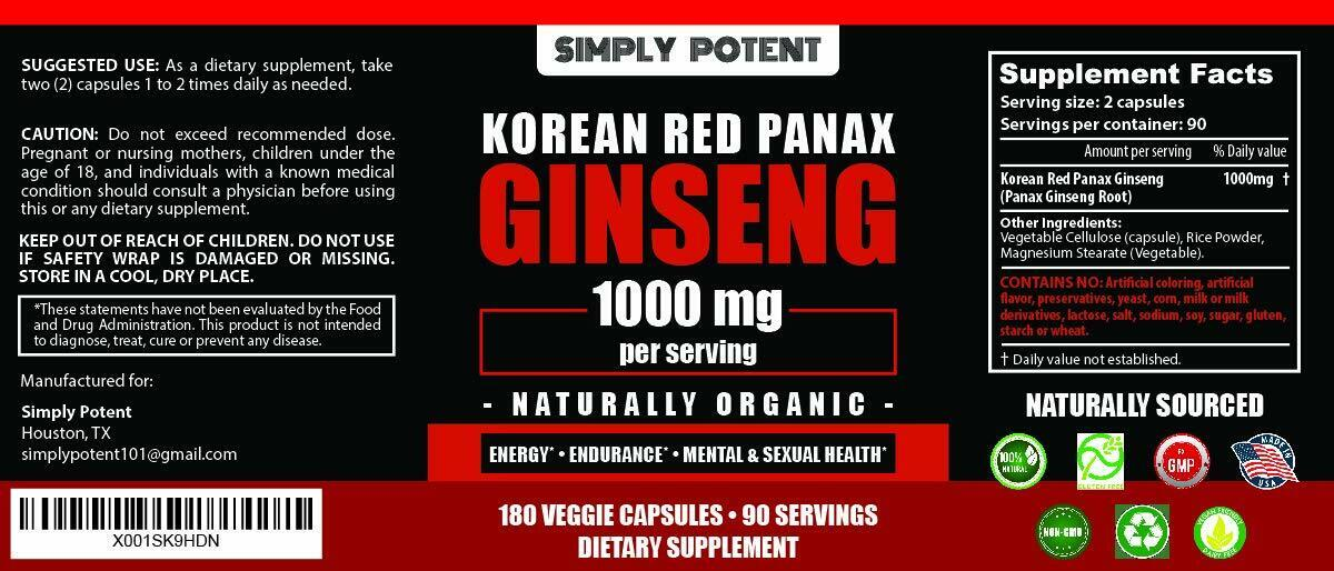 Korean Ginseng Red Panax Ginseng 1000 mg Huge 3 Month Supply for Energy & Libido 2