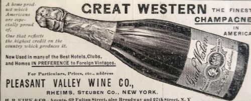 1897 Pleasant Valley Wine Co New York Great Western Champagne Vintage Print Ad