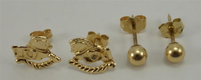 Lot 2pr 14K yellow gold toddler baby child girl earrings ball stud rocking horse