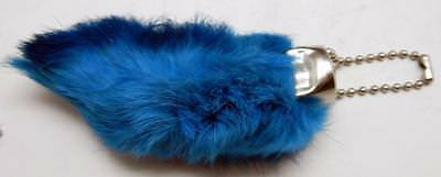 Rabbit Foot Key Chain (Blue Colored Lucky RABBITS FOOT (Oryctolagus Cuniculus) Key Chain)