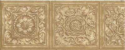 Wallpaper Border Tan & Beige Faux Carved Wood Medallion Molding