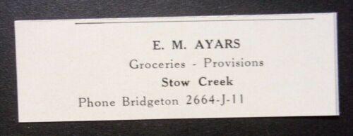 1948 E. M. Ayars Groceries & Provisions Advertisement Stow Creek, NJ