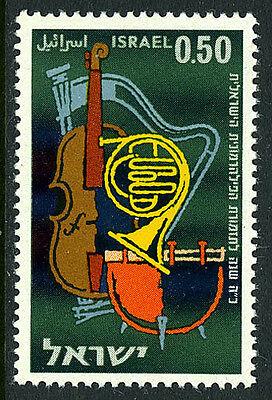 ISRAEL 214,MNH.ISRAEL PHILHARMONIC ORCHESTRA,25TH ANN. CELLO,HARP,HORN,DRUM,1961