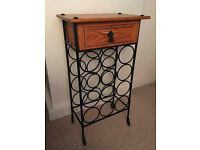 12 Bottle Cast Iron Wine Rack with Solid Wood Drawer Unit for Corkscrews, Stoppers etc.