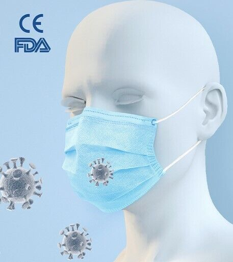 1 BOX OF 50BLUE PROTECTIVE MASK 99% FILTER EFFICIENCY HEALTH-FOOD- BEAUTY&More