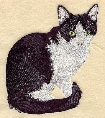 Large Embroidered Zippered Tote - Black & White Tuxedo Cat C7937