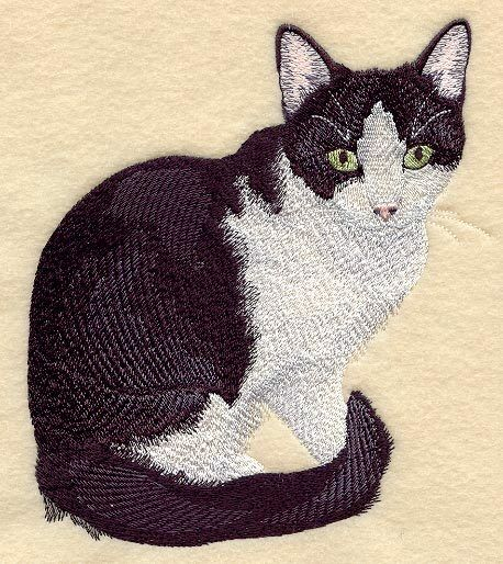 Embroidered Short-Sleeved T-Shirt - Black & White Tuxedo Cat C7937 Sizes S - XXL
