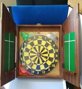 Vintage The Royal Arms Dartboard Cabinet - new with darts, chalk