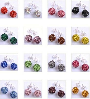 10MM (16Color) Choose Shining Crystal Disco Ball Beads Studs Earrings (Colored Disco Ball)