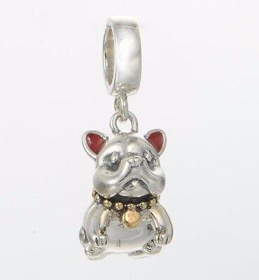 BULLDOG Dog Genuine S925 Sterling Silver Charm Bead For European Bracelet