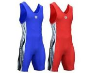 Wrestling/weightlifting unisex singlet (Red+Blue)